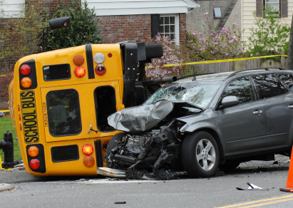 car in accident with bus