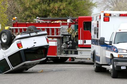 fire truck, ambulance, vehicle upside down