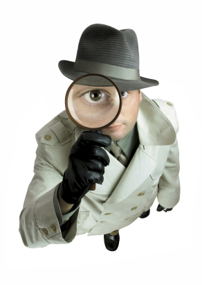 Car Insurance Search: Detective with Magnifying Glass