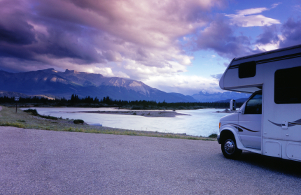 Motorhome by a Mountain Lake
